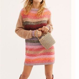 Free People Sweater Dress Metallic Stripe Small